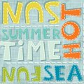 Summertime sea fun hot colorful pattern sewed summer related words on blue background typographic seamless Royalty Free Stock Image