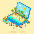 Summertime travel flat 3d web isometric infographic concept