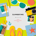 Summertime travel template with traveling accessories vector eps illustration Royalty Free Stock Photography