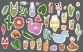 Summertime vector Stickers collection hand drawn