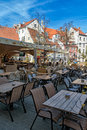 Summery cafe in old town Royalty Free Stock Photo