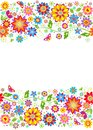 Summery floral border with colorful flowers Royalty Free Stock Photography