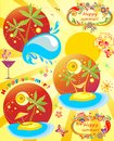 Summery labels poster with collection of holiday Stock Images