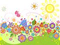 Summery seamless border with abstract sun and colorful flowers Stock Image