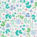 Summery seamless repeat pattern of stylized flowers and leaves. A pretty floral vector design in green, blue and pink.