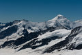 Summit of aletschhorn a meter peak in the bernese highlands seen from ascend to mount monch Royalty Free Stock Image