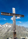 Summit cross in switzerland a the valais the swiss alps Royalty Free Stock Image