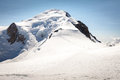The summit of mont blanc view on and refuge bivouac vallot Royalty Free Stock Photos