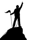 Summit success editable vector silhouette of a successful climber on a mountain Royalty Free Stock Image