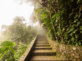 Summit of sugarloaf mountain rio de janeiro brazil misty stone path to in in Royalty Free Stock Photography