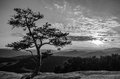 Summit sunset black and white photo of a on top of stone mountain north carolina Stock Photography
