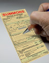 Summons ticket to court Royalty Free Stock Photo