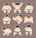 Sumo player stickers Royalty Free Stock Photos