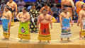 Sumo tournament in nagoya wrestlers aichi prefectural gymnasium japan Stock Photography