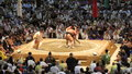 Sumo tournament in nagoya wrestlers aichi prefectural gymnasium japan Royalty Free Stock Photo