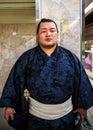 Sumo wrestler in fukuoka japan november japan on november unidentified japanese waits for a train to his Royalty Free Stock Photos