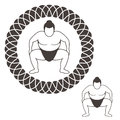 Sumo wrestling isolated objects on white background vector illustration eps Royalty Free Stock Photos