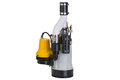 Sump pump with emergency backup pump new an attached yellow in case of breakdown to be submersed in a pit to drain collected Royalty Free Stock Photos