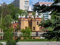 Fairy-tale castle on the bank of the pond in Kazka park in Sumy