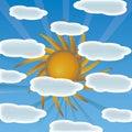 Sun с вектором облаков Стоковые Изображения RF