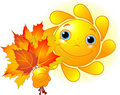 Sun with autumn leaves Royalty Free Stock Photo