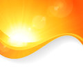 Sun background with wavy pattern summer a magnificent vector burst lens flare and lines in bright orange and yellow colors Stock Photo