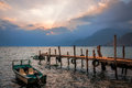 Sun beams at Sunset on Lake Atitlan, Guatemala -View from the docks Royalty Free Stock Photo