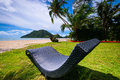 Sun bed on beautifull tropical beach in Thailand Royalty Free Stock Photo