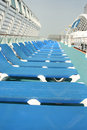 Sun beds on cruise ship Stock Photo