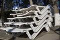Sun beds off season stockpiled limassol s seafront promenade cyprus Stock Image