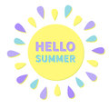 Sun big icon. Sun colorful rays. Cute cartoon sun shining. Hello summer. White background. Isolated. Flat design