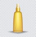 Sun block lotion Container. Sun care oil transparent bottle. Vector illustration