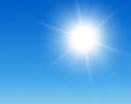Sun in blue sky Royalty Free Stock Photo