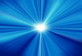 Sun on blue sky with lenses flare blurred rays of light abstract background Stock Photo