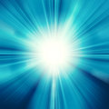 Sun on blue sky with lenses flare blurred rays of light abstract background Stock Images