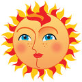 Sun with blues eyes and red hair perfect for print fully vector easy to use Royalty Free Stock Images