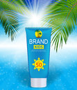 Sun Care Cream Bottle, Tube Template for Ads or Magazine