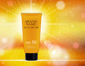 Sun Care Cream Bottle, Tube Template for Ads or Magazine Background. 3D Realistic Vector
