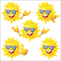Sun cartoon character with blue sunglasses set Royalty Free Stock Photo