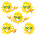 Sun cartoon character with green sunglasses set Royalty Free Stock Photo