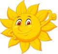Sun cartoon character with thumb up Royalty Free Stock Photo