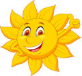 Sun cartoon character with thumb up illustration of Stock Photo