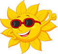 Sun cartoon character with thumb up Royalty Free Stock Photo