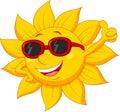 Sun Cartoon Character With Thu...