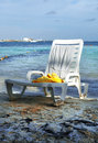 Sun chairs on the sandy beach cancun mexico Royalty Free Stock Photo