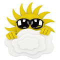 Sun character - hiding behind clouds Royalty Free Stock Image