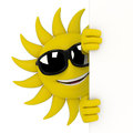 Sun character hiding behind a wall d render illustration of Stock Photos