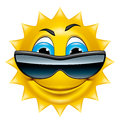 Sun character with sunglasses Stock Photo