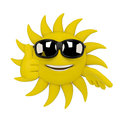 Sun character thumbs up d render illustration of a giving a Stock Image