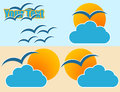 Sun and cloud logo Stock Photo
